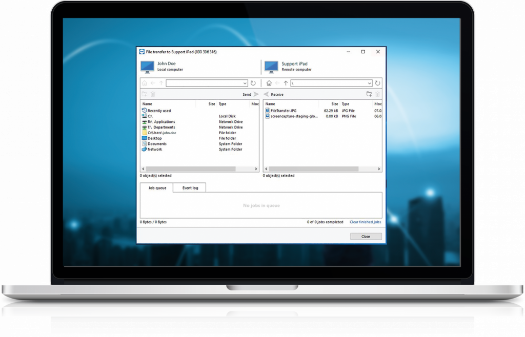 screenshot of macbook displaying how to send large files fast and securely by TeamViewer